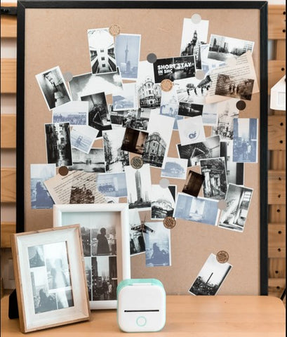 photo collage wall with T02 mini pocket printer