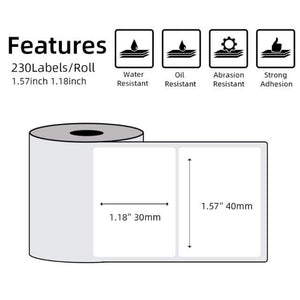 Multi-Purpose Square Self-Adhesive Label- Compatible for Phomemo M110 Label Printer-1 Roll of 100 Labels 40x30mm