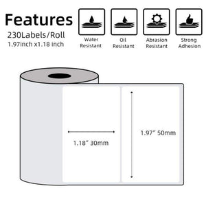 Multi-Purpose Square Self-Adhesive Label- Compatible for Phomemo M110 Label Printer-1 Roll of 100 Labels 50x30mm
