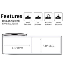 Load image into Gallery viewer, Multi-Purpose Square Self-Adhesive Label- Compatible for Phomemo M110 Label Printer-1 Roll of 100 Labels 50x80mm