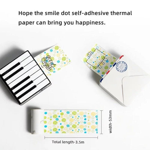 Phomemo Smile Dot Pattern Stickers Thermal Paper 3 Rolls for 20 yrs (Compatible with M02 & M02s)
