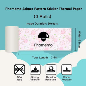 Phomemo Sakura Pattern Black Character on Stickers Thermal Paper 3 Rolls for 20 yrs