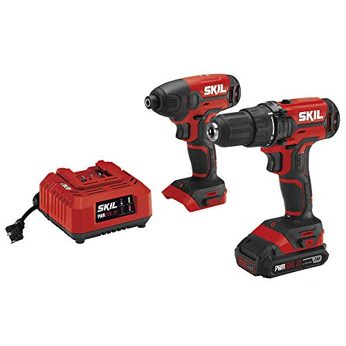 SKIL 20V 2-Tool Combo Kit: 20V Cordless Drill Driver and Impact Driver Kit, Includes 2.0Ah PWRCore 20 Lithium Battery and Charger - CB739001 - [home-and-tool].