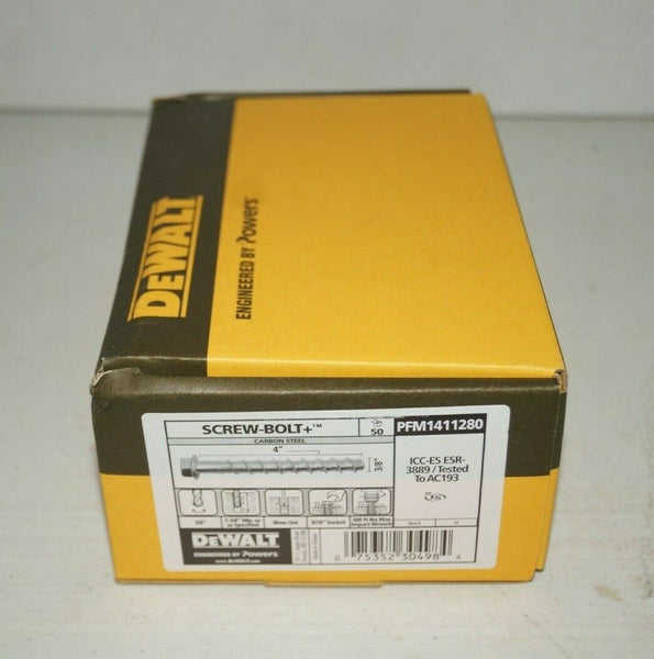 "(Qty 50) 3/8"" x 4"" DeWalt Powers PFM1411280 Screw Bolt + Concrete Screw Anchor"