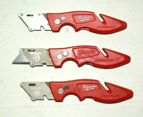 Lot of 3 Milwaukee Fastback Pocket Knife Boxcutter - [home-and-tool].