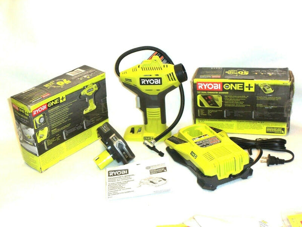Ryobi P737 Inflator Air Compressor Set P107 Lithium Battery And P117 Charger - [home-and-tool].
