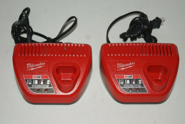 LOT OF 2 MILWAUKEE 48-59-2401 M12 12 Volt Lithium Ion Charger USED - [home-and-tool].