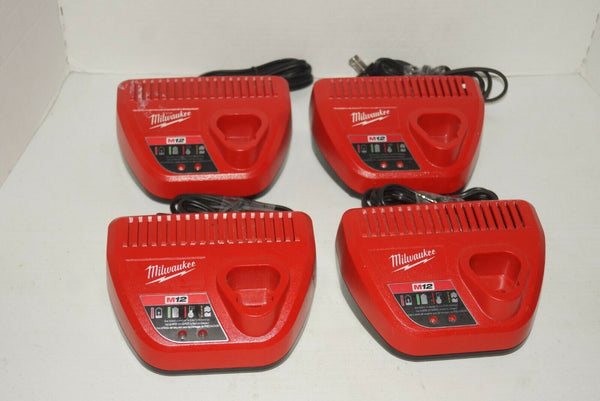 LOT OF 4 MILWAUKEE 48-59-2401 M12 12 Volt Lithium Ion Charger USED - [home-and-tool].