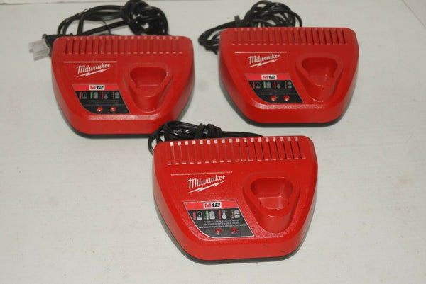 LOT OF 3 MILWAUKEE 48-59-2401 M12 12 Volt Lithium Ion Charger USED - [home-and-tool].