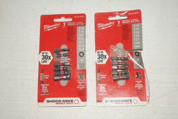 "Lot of 2 Milwaukee 48-32-4615 7 Piece TORX Shockwave 1"" Insert Bit Set - [home-and-tool]."