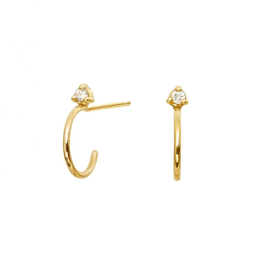 Kristen Hoop Stud Earrings - White CZ