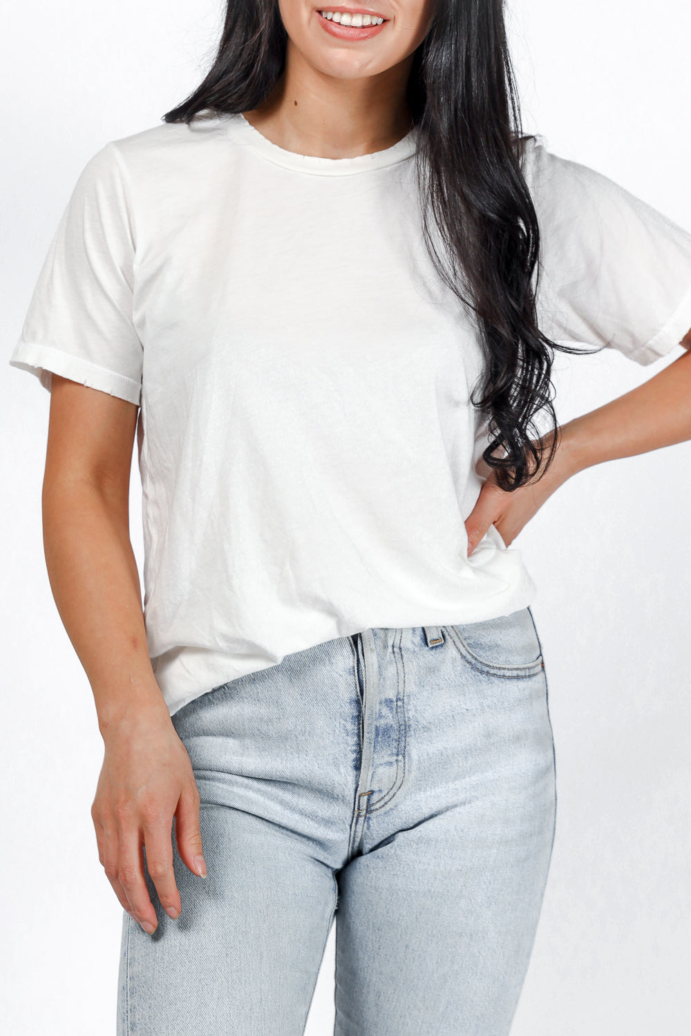 Distressed Classic Tee in Washed White