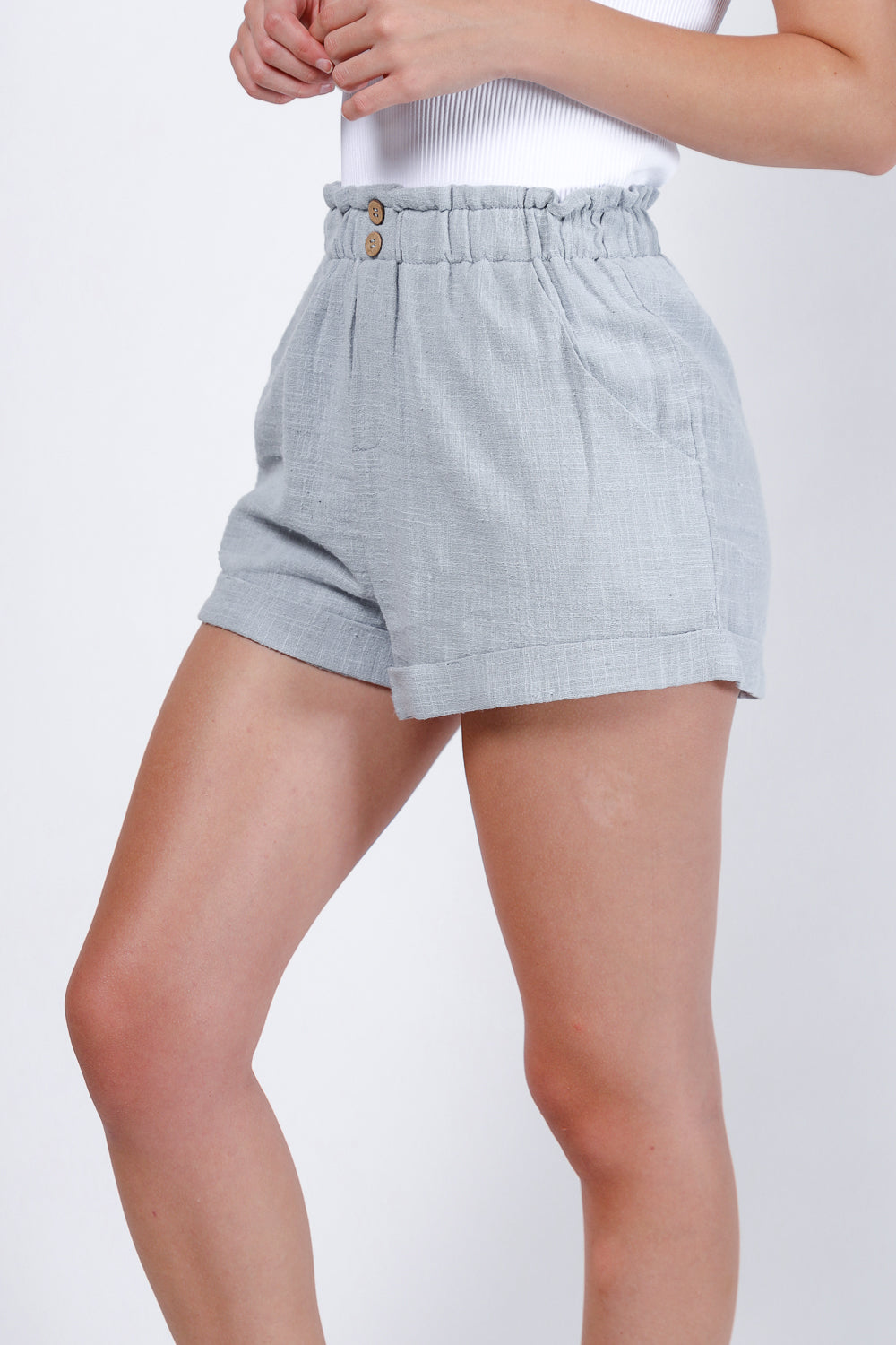 Piper Paper Bag Shorts (Slate Blue)
