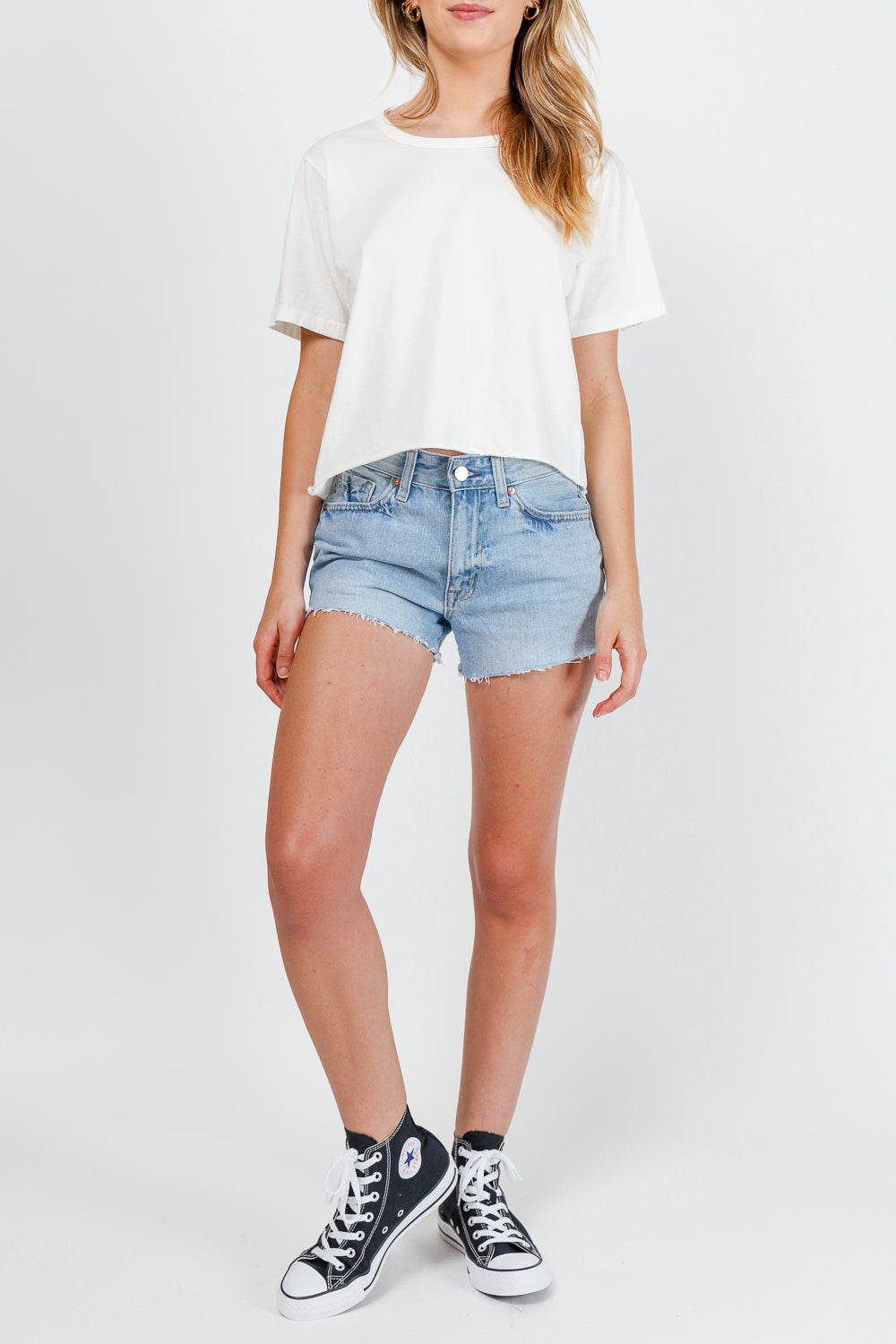 Vintage Crop Tee - Washed White