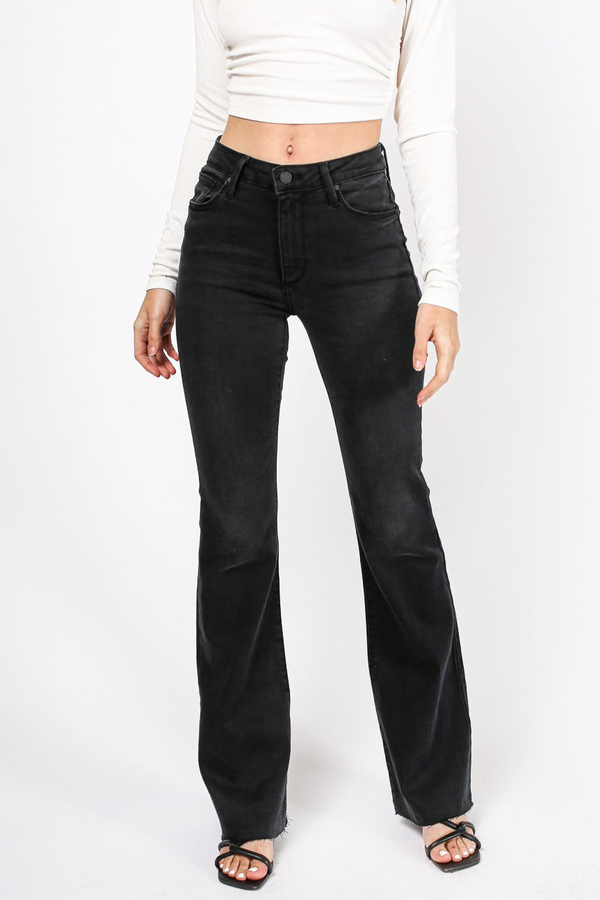 90's Babe Raw Cut Flares (Black)