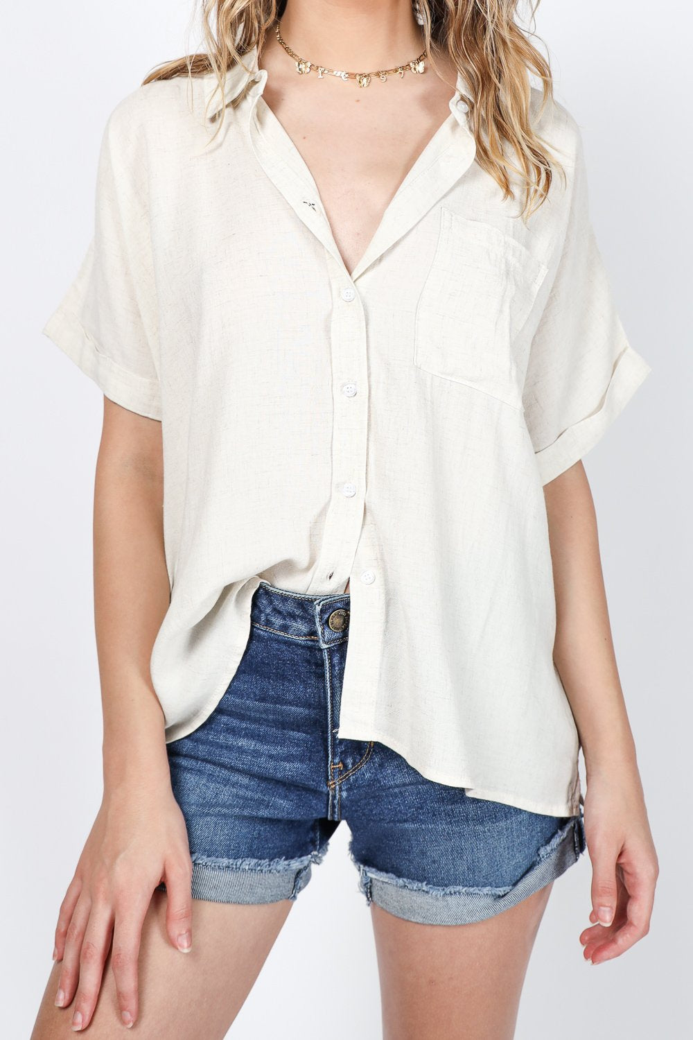 It's Easy Button Up Blouse (White)