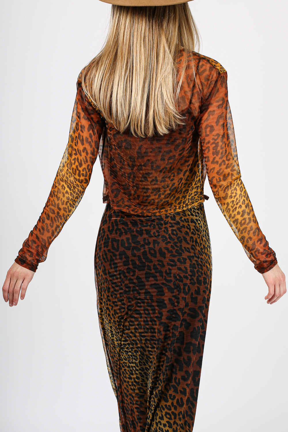 Vintage Cheetah Dress Tie Top Set