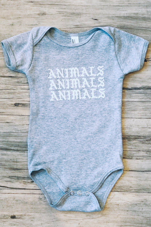 ANIMALS onesie in grey.