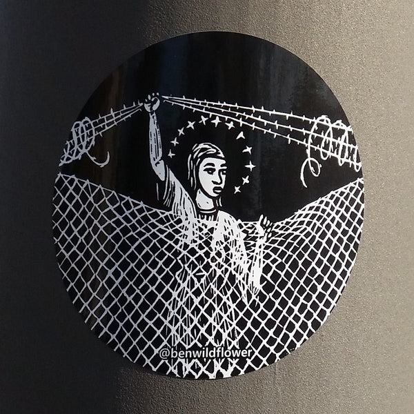 Mary at Border Fence Sticker