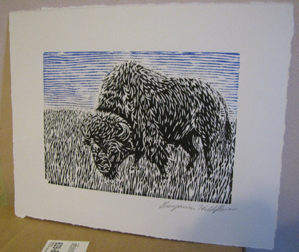 Bison Two-Tone Linocut Print