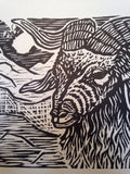 Mountain Goat Woodcut