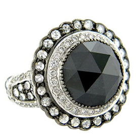 Sethi Couture Black Rose Diamond Cocktail Ring
