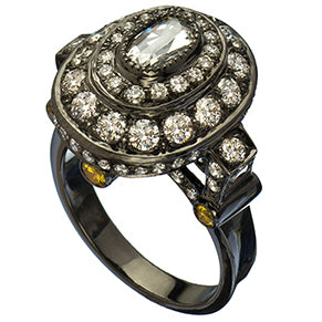 Sethi Couture Oval Rose Diamond Cocktail Ring
