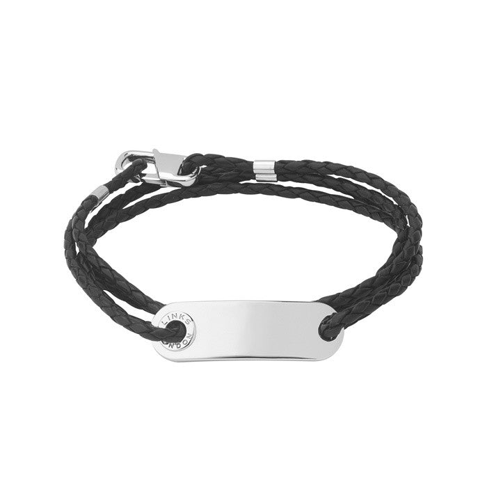 Links of London Mens Soho ID Bracelet with Leather Cord - 2110.0012