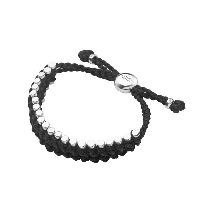 Links of London Mens Friendship Bracelet Black Rope - 2110.0036