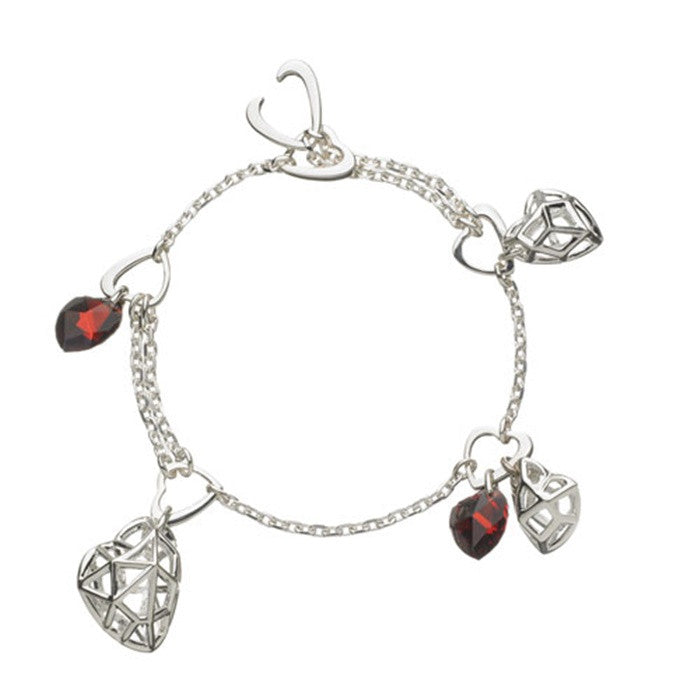 Links of London Flutter & Wow Heart Garnet Bracelet - 5010.0590