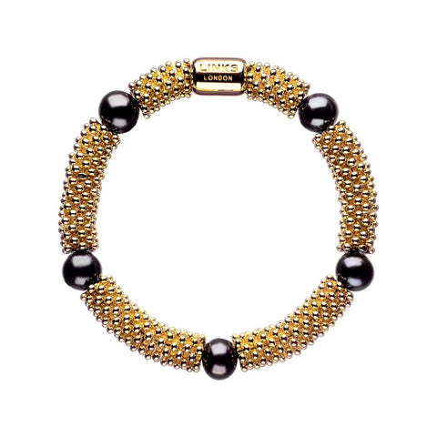 Links of London Effervescence Star Bracelet Yellow Gold with Black Pearls - 5010.1398