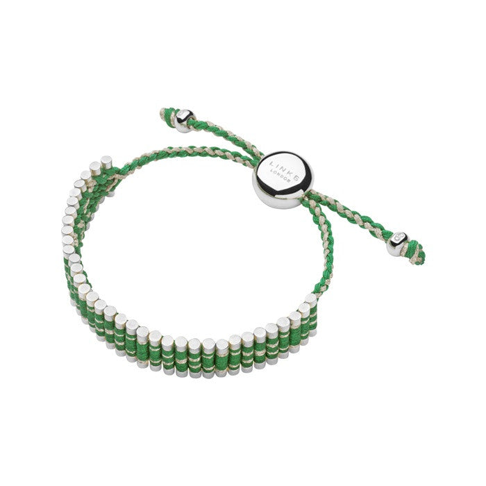 Links of London Navajo Friendship Bracelet Green And Silver Glitter - 5010.2113