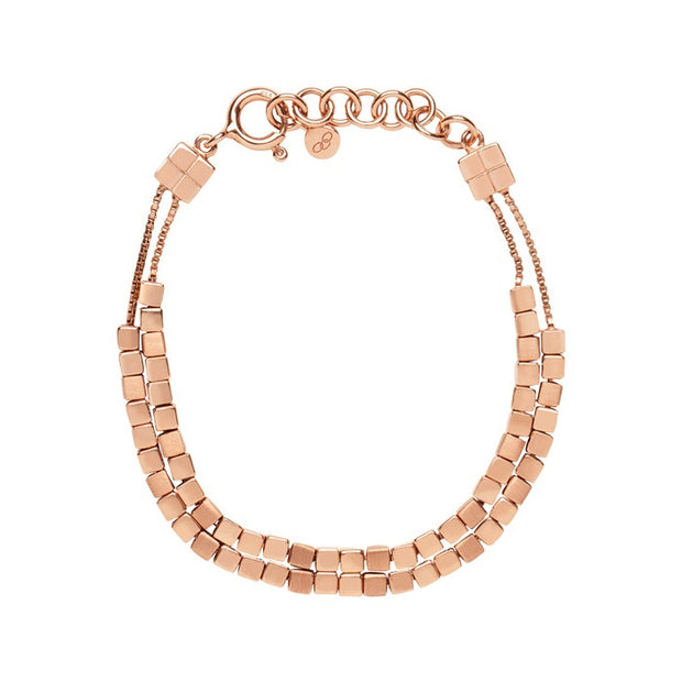 Links of London Cubist Rose Gold Vermeil Double Row Bracelet - 5010.2669