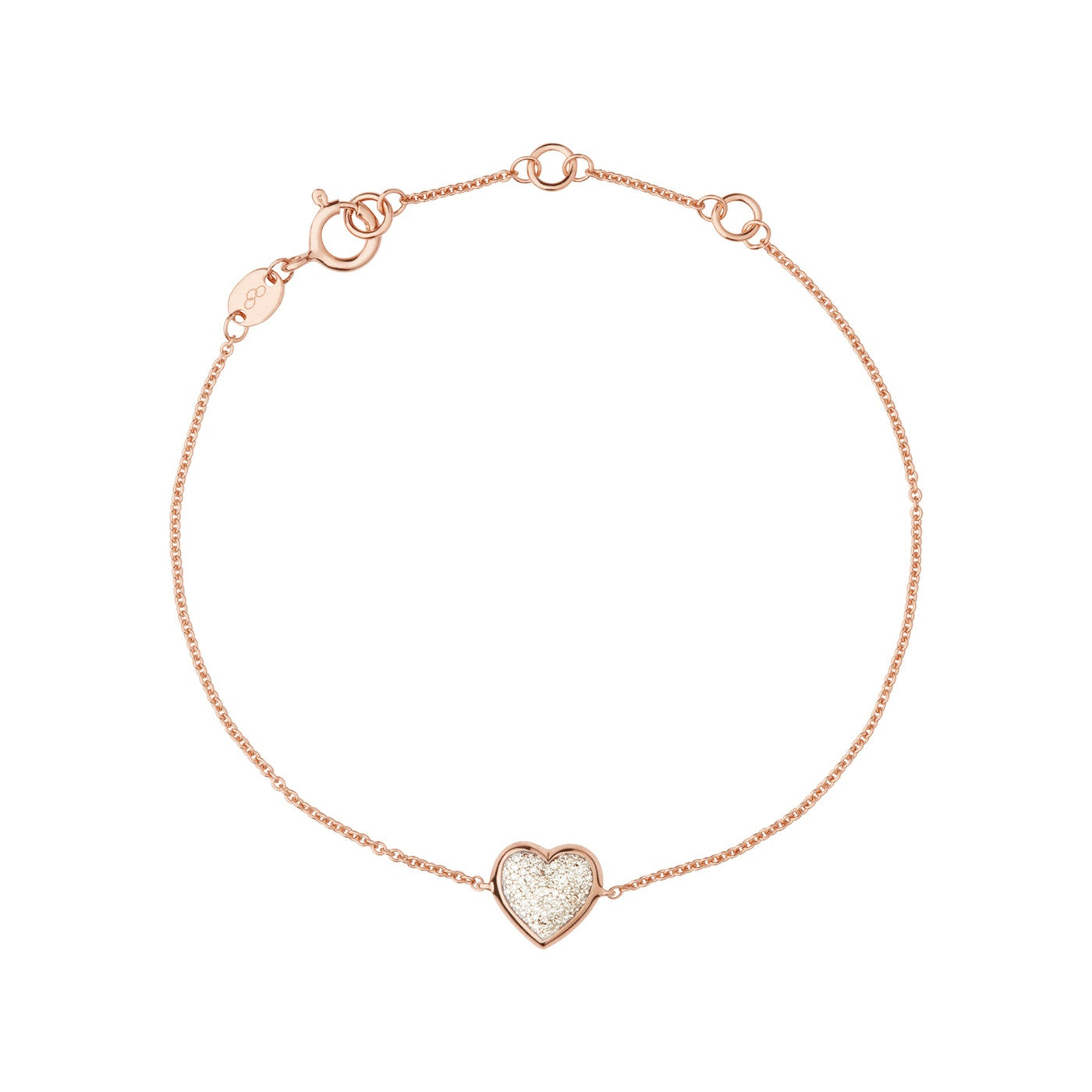 Links of London Diamond Essentials 18K Rose Gold Vermeil & Pave Heart Bracelet - 5010.2848