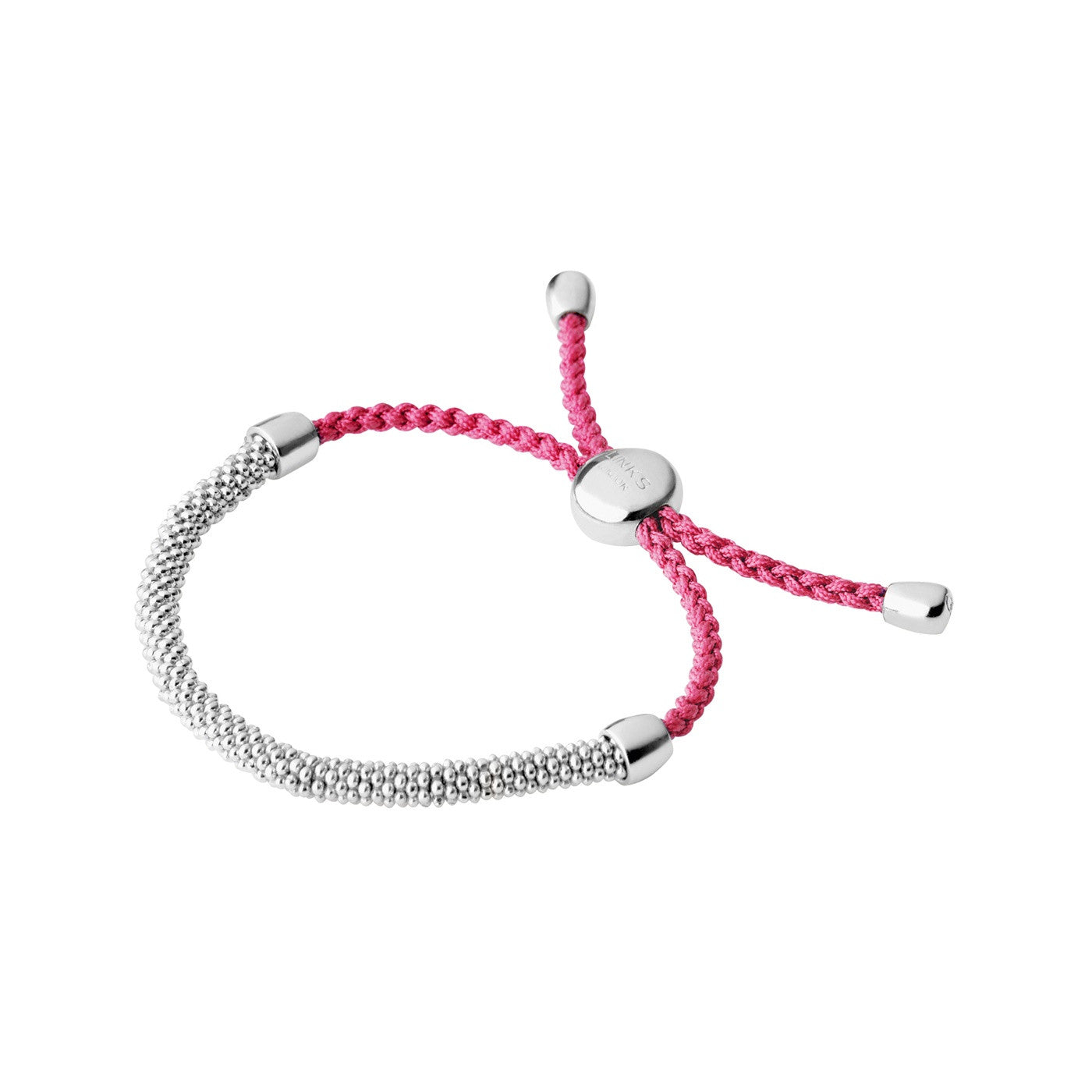 Links of London Effervescence XS Sterling Silver & Pink Cord Bracelet - 5010.3144
