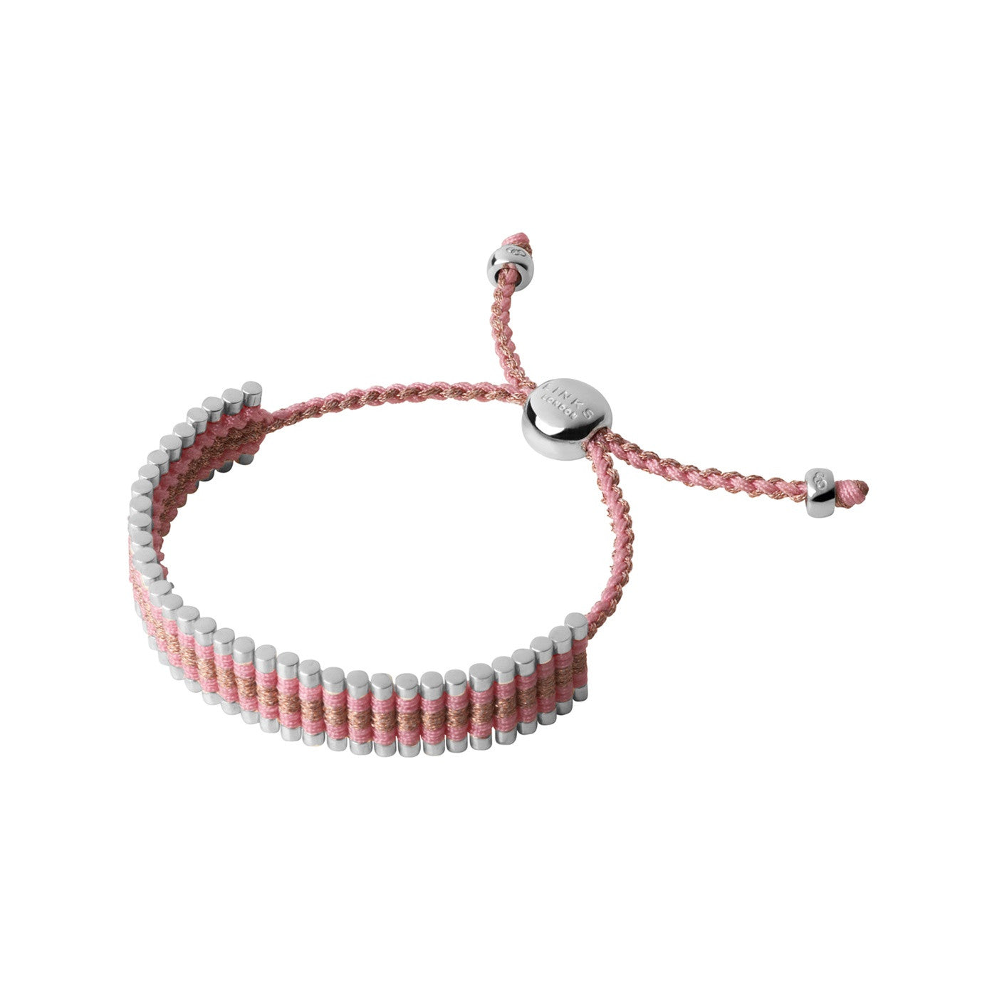 Links of London Sterling Silver, Pink & Copper Glitter Friendship Bracelet - 5010.3157