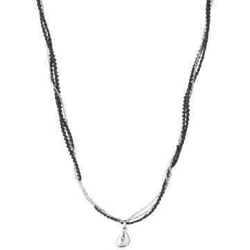 Links of London Sterling Silver Black & Silver Cord & Chain Necklace - 5020.2084