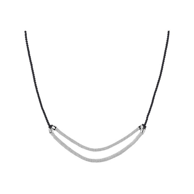 Links of London Effervescence Star Xs Cord Double Row Grey Necklace - 5020.2468