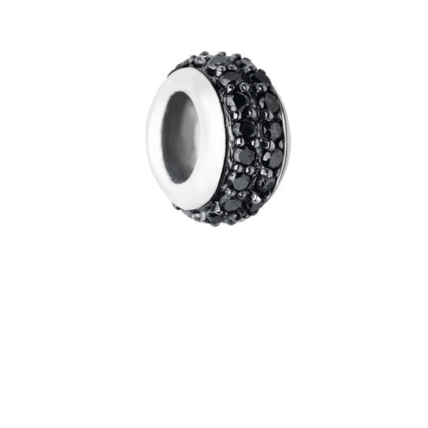Links of London Sweetie Sterling Silver & Black Diamond Pave Rondelle Bead - 5030.2356