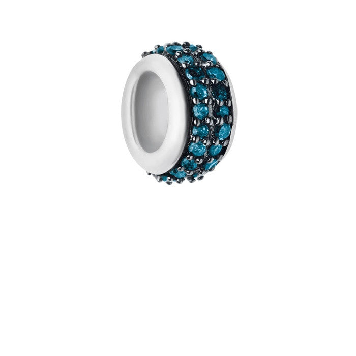 Links of London Sweetie Sterling Silver & Blue Diamond Pave Rondelle Bead - 5030.2357