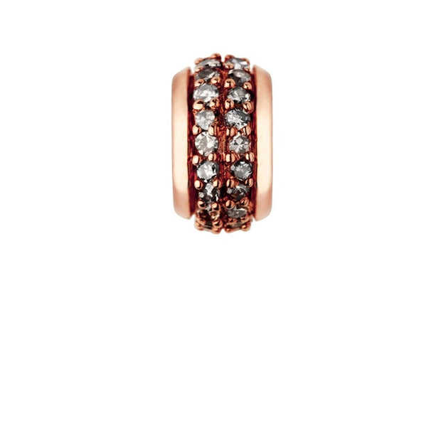 Links of London Sweetie Rose Gold Vermeil & Champagne Diamond Pave Rondelle Bead - 5030.2358