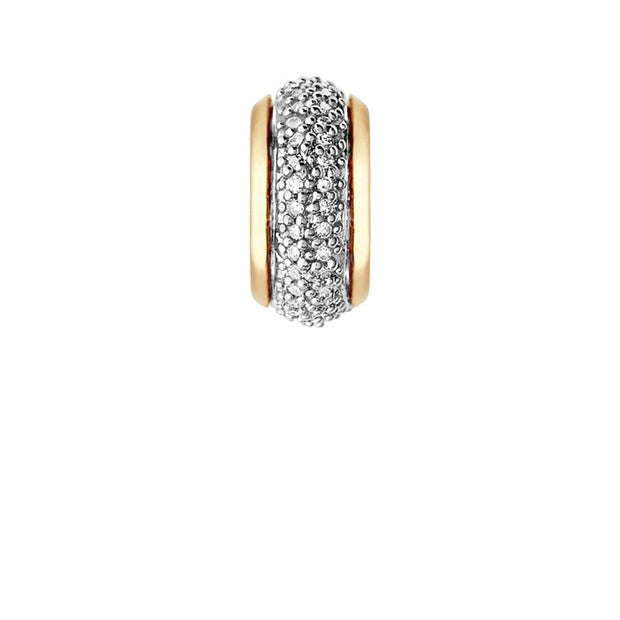 Links of London Sweetie 18K Yellow Gold Vermeil & White Diamond Pave Rondelle Bead - 5030.2365