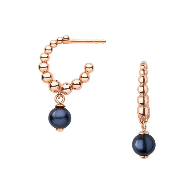 Links of London Effervescence Black Pearl Hoop Earrings - 5040.1956
