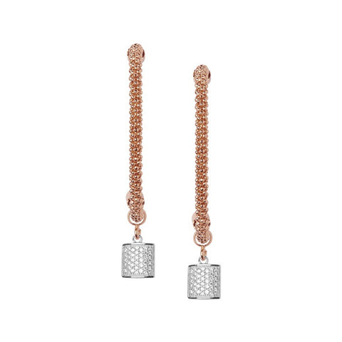 Links of London Star Dust Rose Gold Square Drop Earrings - 5040.2291