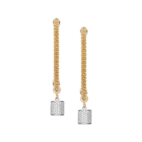 Links of London Star Dust Yellow Gold Square Drop Earrings - 5040.2292