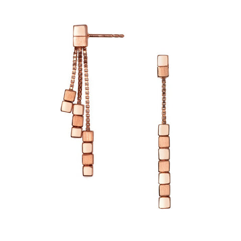 Links of London Cubist Rose Gold Vermeil Multi Drop Earrings - 5040.2302