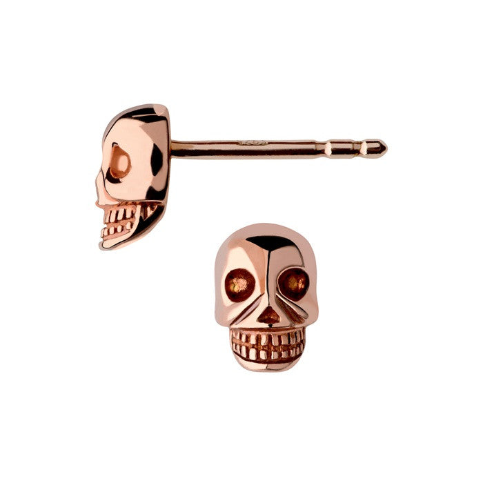 Links of London Rose Gold Vermeil Mini Skull Stud Earrings - 5040.2310