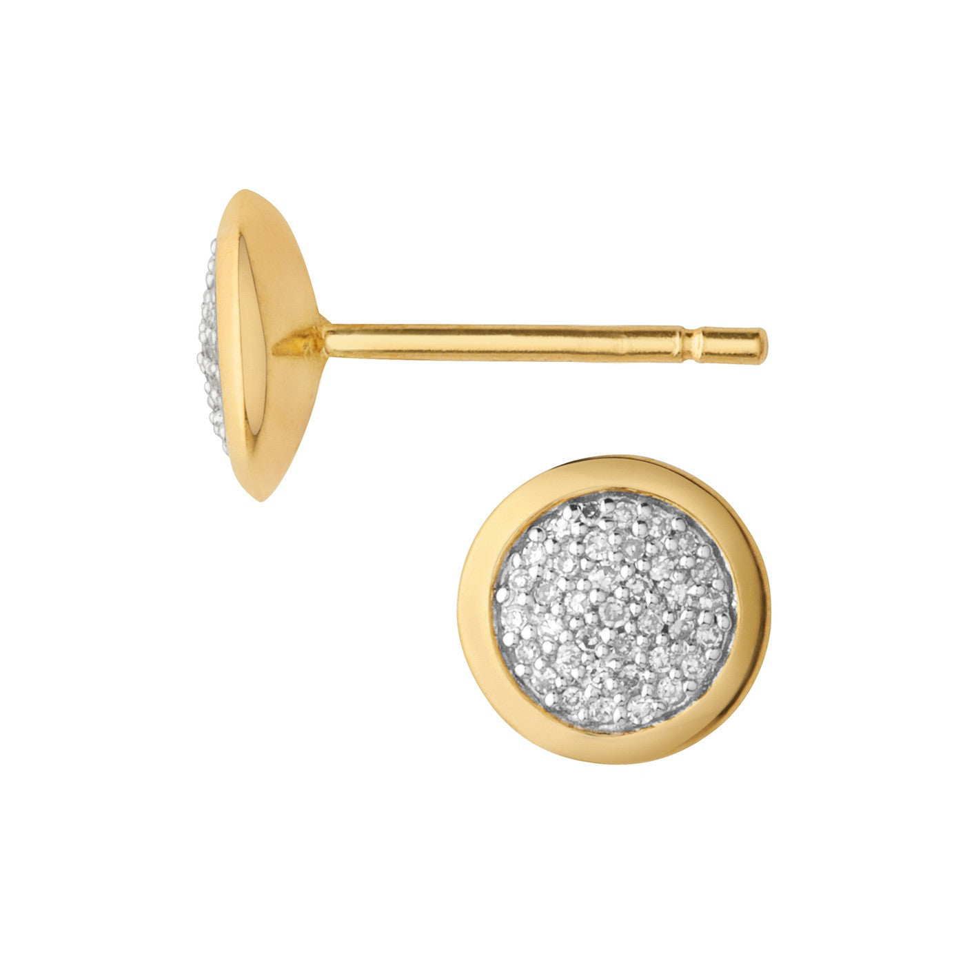 Links of London Diamond Essentials Pave Round Studs Yellow Gold Vermeil - 5040.2408