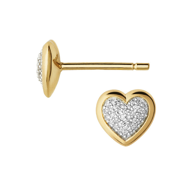 Links of London Diamond Essentials 18K Yellow Gold Vermeil & Pave Heart Stud Earrings - 5040.2411