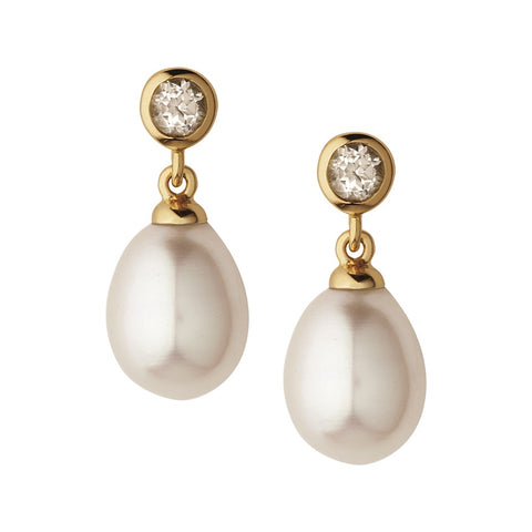 Links of London White Topaz Pearl Drop Earrings - 5040.2433